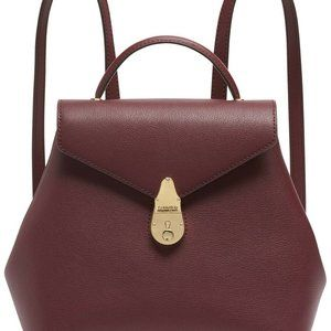 Calvin Klein Lock Leather Backpack Burgundy Red